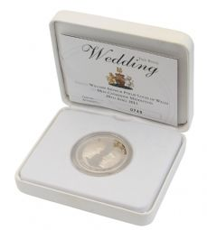 2011 Silver Proof £5 Coin William and Kate Gold Plated for sale
